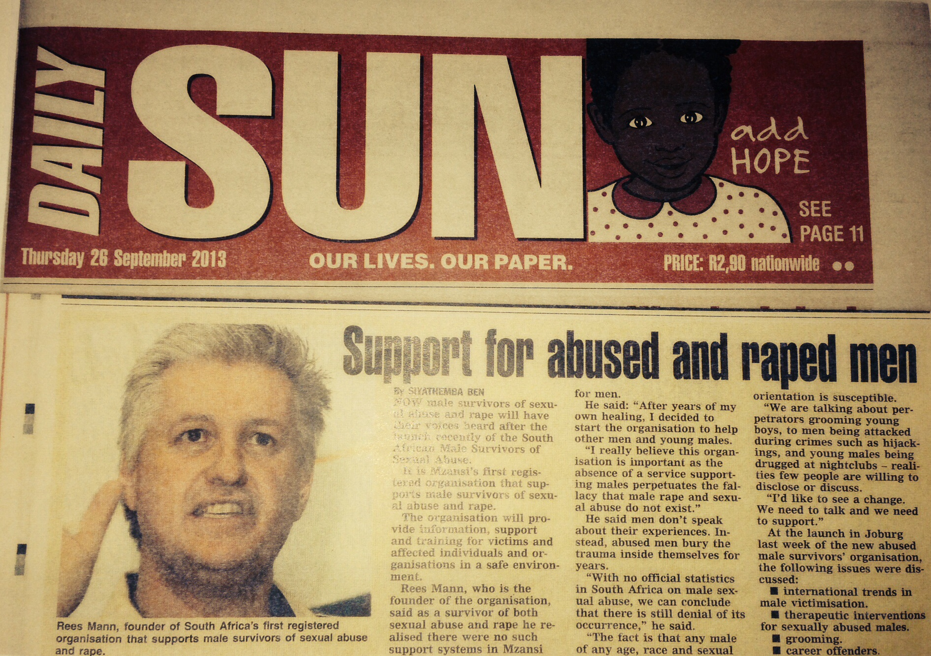 DAILY SUN  -  26  SEPTEMBER 2013. (50 COLUMN CENTIMETRES)